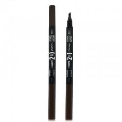 Crayon à Sourcils 2 en 1 + Microblading Effet Tattoo - D'Donna - Châtain moyen
